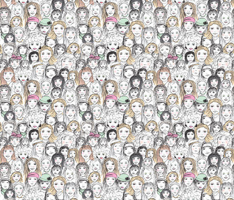 Strong girls rule the world woman group demonstration portrait sketch illustration fabric by littlesmilemakers on Spoonflower - custom fabric