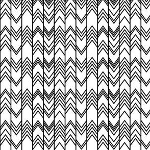 Black and White Ikat Ziggy - Monochrome Herringbone