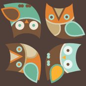 owls, owls, owls in brown