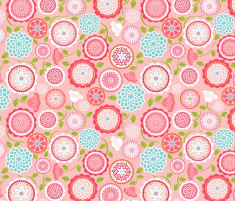 Mums for Mom Pink Aqua fabric by natitys on Spoonflower - custom fabric