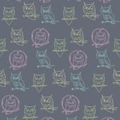 chalkboard owls