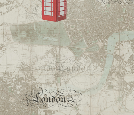 Old London Phone Booth fabric by 13moons_design on Spoonflower - custom fabric