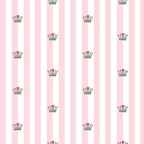 Sweetpea Crown and Stripe fabric by evelynrosedesigns on Spoonflower - custom fabric