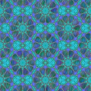 Blue Green Purple Islamic Style Tile © Gingezel™ 2014