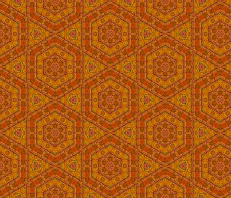 Orange Textured Hexagon Tile © Gingezel™ 2014 fabric by gingezel on Spoonflower - custom fabric