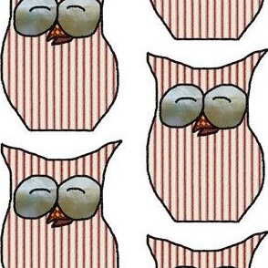 Fall Things: Striped Red Ticking Autumn Owls on White