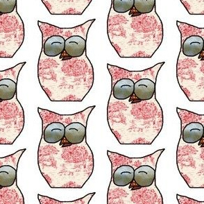 Fall Things: Red & Cream Toile Owls on White
