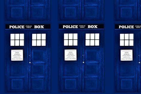 Blue Police Box Door Panel (Just the front) fabric by bohobear on Spoonflower - custom fabric