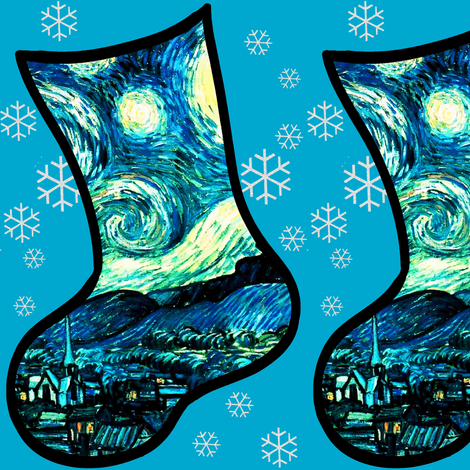 Christmas Stockings Van Gogh's Starry Night fabric by bohobear on Spoonflower - custom fabric