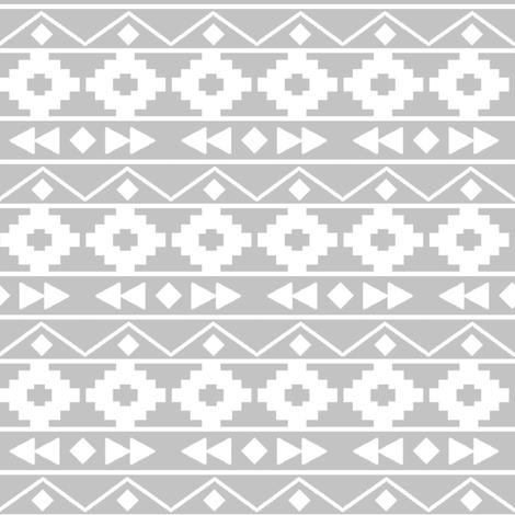 Grey tribal rows fabric by mintpeony on Spoonflower - custom fabric