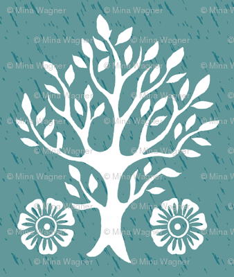 2Flowers - white tree stamps-2 - Garden - white-MED-BLUEGREEN