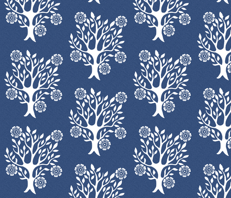 5Flowers - white-tree-stamps-3 - Spring - white-DK-BLUE fabric by mina on Spoonflower - custom fabric