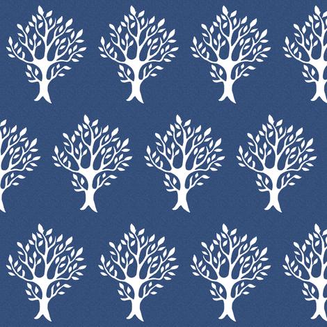 White tree stamp fabric4 - Boulevard trees - white-DK-BLUE fabric by mina on Spoonflower - custom fabric