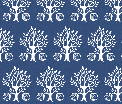 2Flowers - white tree stamps-2 - Garden - white-DK-BLUE fabric by mina on Spoonflower - custom fabric