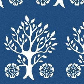 2Flowers - white tree stamps-2 - Garden - white-DK-BLUE