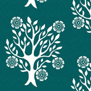 5Flowers - white-tree-stamps-3 - Spring - white-DK-BLUEGREEN