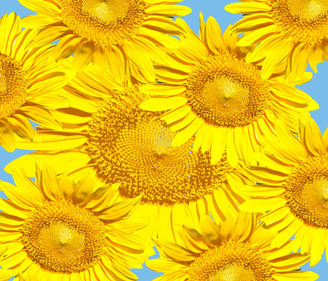A Sky Full of Sunflowers fabric by anniedeb on Spoonflower - custom fabric