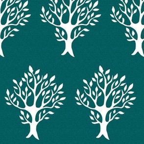 White tree stamp fabric4 - Boulevard trees - white-DK-BLUEGREEN