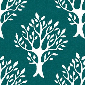 White tree stamp fabric1 - Forest - white-DK-BLUEGREEN