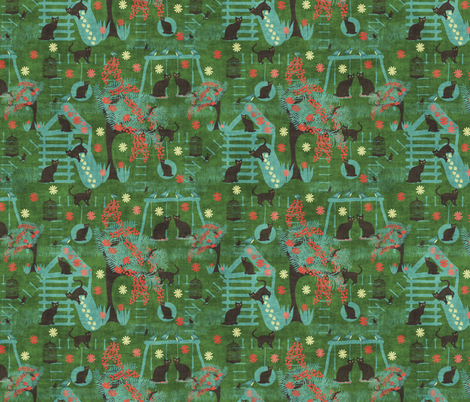 cats playing on green fabric by kociara on Spoonflower - custom fabric