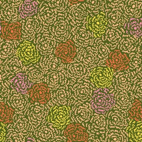Firefly Flowers | Peach on Dark Green