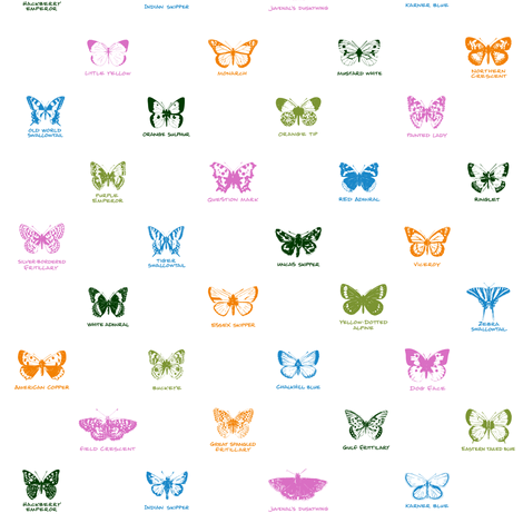 butterfly alphabet - butterfly contest palette fabric by weavingmajor on Spoonflower - custom fabric