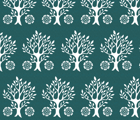 2Flowers - white tree stamps-2 - Garden - white-DK-BLUEGREEN fabric by mina on Spoonflower - custom fabric