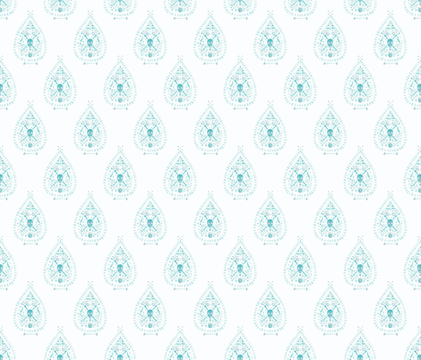 small Paisley is Dead in Aqua fabric by danikaherrick on Spoonflower - custom fabric
