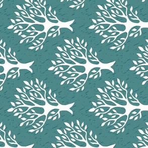 Tree-stamp-fabric1 - Linen teatowel - white-MED-BLUEGREEN - rotate