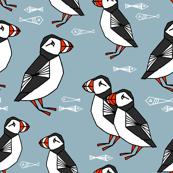 puffin // bird birds puffins blue kids animals fabric