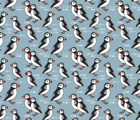 puffin // bird birds puffins blue kids animals fabric fabric by andrea_lauren on Spoonflower - custom fabric