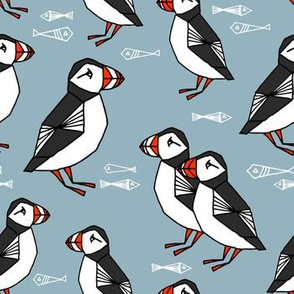 puffin // bird birds puffins blue kids animals fabric
