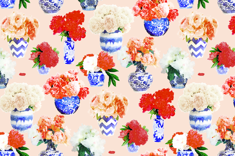Custom red peonies on blush fabric by danikaherrick on Spoonflower - custom fabric
