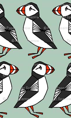 puffins // mint blue birds cute scotland winter birds