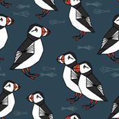 puffins // dark navy blue puffins fabric birds bird