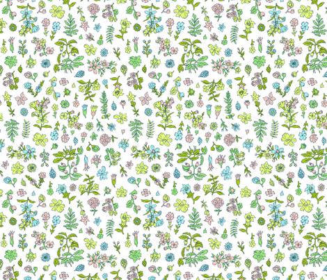 Exploded Flower Garden | White fabric by imaginaryanimal on Spoonflower - custom fabric