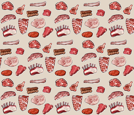 Meat Indeed - Small fabric by ilikemeat on Spoonflower - custom fabric