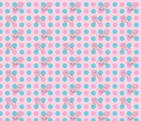 Squid Pink and Blue Dot fabric by pange on Spoonflower - custom fabric