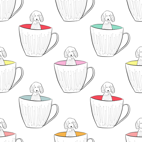 Tutti Fruity Pup In A Cup fabric by samdraws on Spoonflower - custom fabric