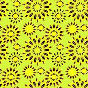 Firefly Flowers in Retro Yellow Green