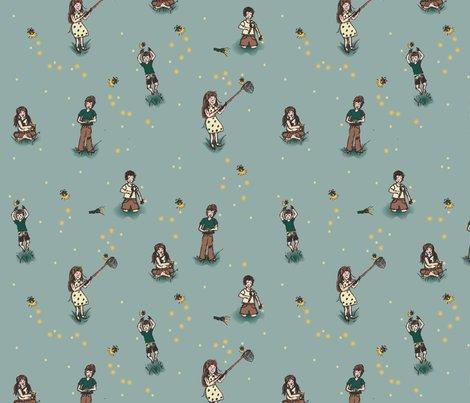 Kids Catching Fireflies Wallpaper Radianthomestudio Spoonflower