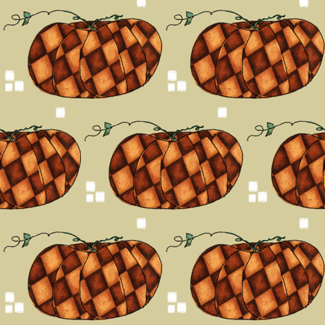 Fall Things: Autumn Pumpkins on Cappuccino Beige fabric by bohobear on Spoonflower - custom fabric