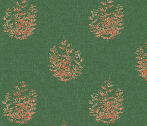 By the Sea, in Emerald and Coral fabric by willowlanetextiles on Spoonflower - custom fabric