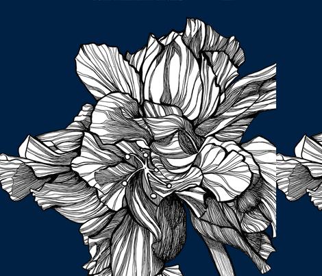 HibiscusLine_PillowFabric_Midnight fabric by brownwilliam_llc on Spoonflower - custom fabric