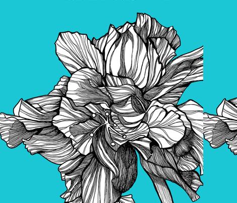 HibiscusLine_PillowFabric_Turq fabric by brownwilliam_llc on Spoonflower - custom fabric