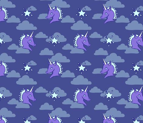 Blue Unicorn Clouds fabric by chriscalmdown on Spoonflower - custom fabric