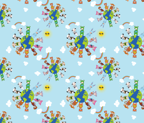 Babywearing Animals - clouds and Sunshine fabric by perlipo on Spoonflower - custom fabric