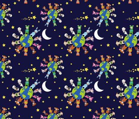 Babywearing Animals - stars and moon fabric by perlipo on Spoonflower - custom fabric
