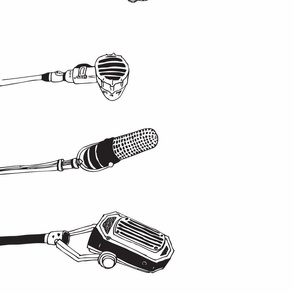 old microphones, black