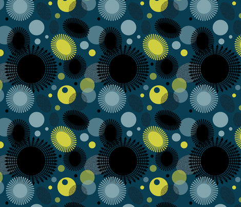 Fireflies Abstraction Coordinate fabric by vannina on Spoonflower - custom fabric